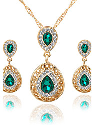 cheap -Women's Crystal Jewelry Set - Crystal, Rhinestone Drop Luxury, Dangling Style, Fashion Include Necklace / Earrings / Bridal Jewelry Sets Red / Green / Blue For Wedding / Party / Special Occasion