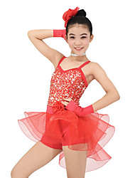 cheap -Kids' Dancewear Outfits Children's Performance Organza Lycra Sequin Sleeveless Natural