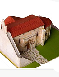 cheap -3D Puzzles Paper Craft Square Church 3D Simulation DIY Hard Card Paper Unisex Gift