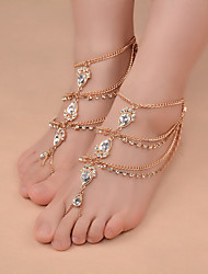 cheap -Women's Gypsy Style Fashion Water Drops Zircon Handmade Gold Chain Single Anklet Summer Beach Jewelry For Casual Leisure Sports