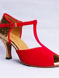 abordables -Femme Chaussures Latines Laine synthétique Sandale Utilisation Paillette Talon Cubain Personnalisables Chaussures de danse Noir / Rouge /