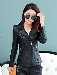 Women's Casual/Daily Simple Fall Leather Jacket,Solid Peaked Lapel Long Sleeve Regular PU