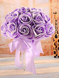 economico -Bouquet sposa Bouquet Matrimonio Raso elasticizzato Schiuma 22 cm ca.
