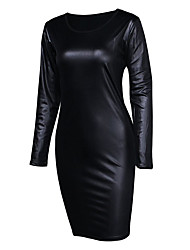 cheap -Women's Party Going out Club Casual Sexy Street chic Bodycon Dress,Solid Round Neck Above Knee Long Sleeves Leatherette Real Leather PU /