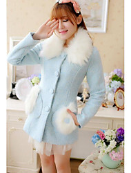 Для женщин На каждый день Зима Пальто Лацкан с тупым углом,Милая Мода Однотонный Обычная Длинный рукав,Шерсть