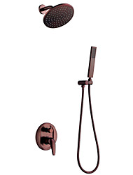 Wall Mounted Ceramic Valve Single Handle Three Holes for  Oil-rubbed Bronze , Shower Faucet