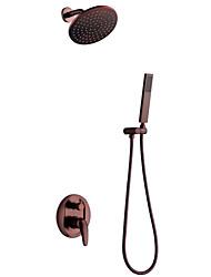 Montagem de Parede Válvula Cerâmica Monocomando Três Buracos Bronze Polido a Óleo , Torneira de Chuveiro