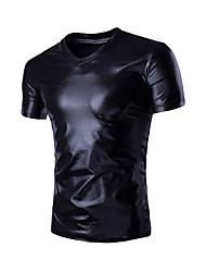 cheap -Men's Daily Active Summer Fall T-shirt,Solid V Neck Short Sleeves Organic Cotton Medium