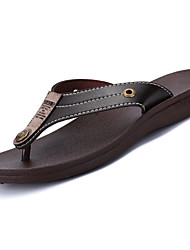 cheap -Men's Slippers & Flip-Flops Mary Jane Light Soles Summer Leather Casual Flat Heel Black Brown Flat