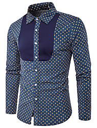 Camicia Da uomo Per uscire Ufficio Semplice Autunno,A pois Colletto Cotone Manica lunga