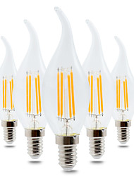 4W E14 LED Globe Bulbs CA35 4 leds COB Dimmable Decorative Warm White 300-400lm 2800-3200K AC 220-240V