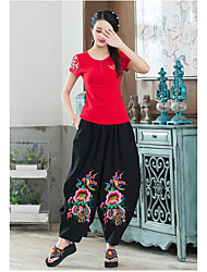 cheap -Women's Medium Waist strenchy Loose Wide Leg Relaxed Pants,Chinoiserie Embroidery Spring Summer
