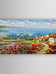 Hand-Painted  Med Landscape by Knife Oil Painting With Stretcher For Home Decoration Ready to Hang