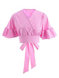 cheap -Women's Going out Cotton Shirt - Plaid / Check Bow V Neck