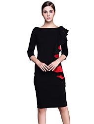 Women's Elegant Slash Neck Peplum Flouncing Frill Front Zipper Wear to Work Office Business Career Stretch Bodycon Dress D0547
