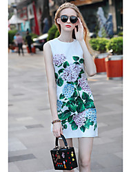 JOJO HANS Women's Going out Casual/Daily Simple Street chic Shift DressFloral Print Round Neck Above Knee Sleeveless Others Summer Mid Rise