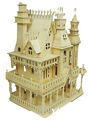 cheap -3D Puzzles Jigsaw Puzzle Wood Model Model Building Kit Square Famous buildings House Architecture DIY Wood Classic Adults' Unisex Gift