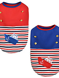 cheap -Dog Vest Dog Clothes Sailor Red Blue Cotton Down Costume For Pets Keep Warm
