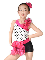 MiDee Kids' Dancewear Leotards Women's Children's Performance Organza Lycra Ruffles Sleeveless Natural