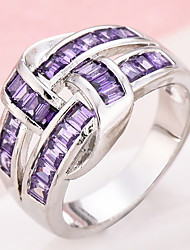 Ring Women's Euramerican Luxury Classic Purple Zircon Imitation Diamond Ring Daily Party  Movie Business Gift Jewelry