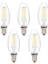 abordables -BRELONG® 5pcs 2W 200lm E14 Ampoules à Filament LED C35 2 Perles LED COB Intensité Réglable Blanc Chaud Blanc 220-240V