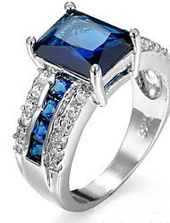 cheap -Women's Cubic Zirconia Ring Settings / Band Ring / Ring - Friends Personalized, Luxury, Geometric 6 / 7 / 8 Blue For Christmas / Wedding / Party / Anniversary / Birthday / Housewarming / Graduation