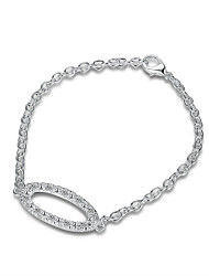 cheap -Women's Girls' Crystal Silver Plated Chain Bracelet - Friendship Fashion Rock Oval Silver Bracelet For Christmas Gifts Wedding Party