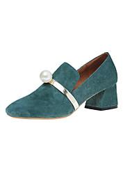 Women's Heels Comfort Fleece Spring Summer Office & Career Dress Party & Evening Comfort Beading Buckle Chunky Heel Black Beige Army Green