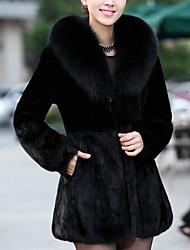 Cappotto di pelliccia Da donna Casual Semplice Inverno,Tinta unita Colletto Altro Pelliccia di volpe Lungo Manica lunga