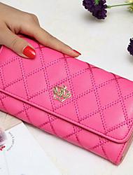 cheap -Women Bags PU Checkbook Wallet for Casual All Seasons Black Fuchsia Azure