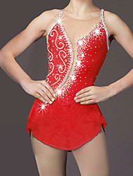 Figure Skating Dress Women's Girls' Ice Skating Dress Red Rhinestone High Elasticity Performance Skating Wear Handmade Classic Fashion