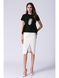 JOJO HANS Women's Housewarming Dailywear Business Formal Ruffled Skirts Work Summer T-shirt Skirt SuitsPrint Fruit Round Neck Short SleeveLace