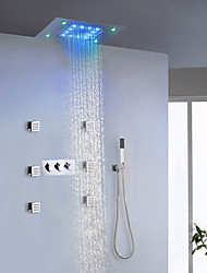 cheap -Contemporary LED Shower System Sidespray Rain Shower Handshower Included Lights with  Ceramic Valve Three Handles Nine Holes for  Chrome