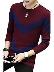 Normal Pullover Homme Sports Sortie Décontracté / Quotidien Travail Grandes Tailles Vintage simple Chic de Rue,Couleur Pleine Col Arrondi