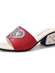 cheap -Women's Sandals Vintage Comfort Spring Summer PU Daily Going out Rhinestone Chunky Heel White Black Ruby 2in-2 3/4in