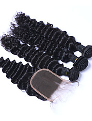 cheap -Natural Color Hair Weaves Brazilian Texture Deep Wave More Than One Year Four-piece Suit hair weaves