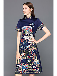cheap -JOJO HANS Women's Party Going out Vintage Chinoiserie Sheath Dress,Animal Stand Knee-length Short Sleeves Silk Summer Mid Rise Inelastic Medium