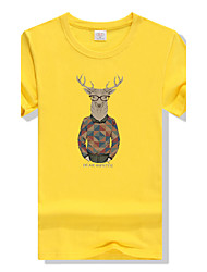 Men's Round Neck Large Size Candy Colors Mr. Deer Printing Fast-drying Short-sleeved Sports Fitness Cotton T-shirt
