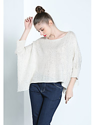 Standard Pullover Da donna-Per uscire Casual Ufficio Semplice Tinta unita Rotonda Manica lunga Lana d'angora Autunno Medio spessoreMedia