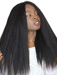 Kinky Straight Lace Front Human Hair Wigs For Black Women Brazilian Remy Hair Coarse Yaki With Baby Hair