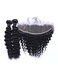 cheap -Natural Color Hair Weaves Brazilian Texture Deep Wave More Than One Year Three-piece Suit hair weaves