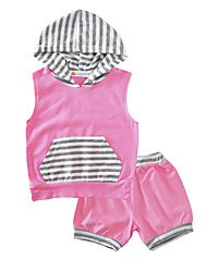 Baby Girl's Cotton Indoor Outdoor Casual/Daily Stripe Clothing Set Hooded T Shirt Short Pants 2pcs Outfits for Toddler Kids Girls