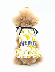 cheap -Dog Dress Dog Clothes Casual/Daily Fruit White Yellow Blue Costume For Pets