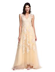 Corte en A Cuello en V Larga Encaje Tul Baile de Promoción Evento Formal Vestido con Apliques por TS Couture®