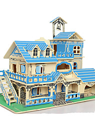 cheap -3D Puzzles Jigsaw Puzzle Wood Model Toys Square House 3D Wood Natural Wood Not Specified Pieces
