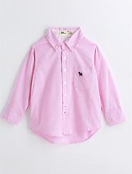 baratos -Para Meninos Camisa Sólido Primavera Outono Algodão Manga Longa Rosa