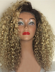 cheap -Soft 613 Ombre Kinky Curly Brazilian Human Virgin Hair Glueless Full Lace Human Hair Wigs With Baby Hair For Black Women Elegant
