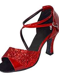 Damen Latin Seide Sandalen Aufführung Überkreuzt Stöckelabsatz Rot 7,5 - 9,5 cm Maßfertigung