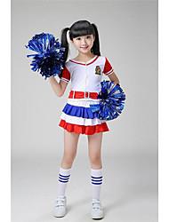 baratos -Fantasias para Cheerleader Roupa Espetáculo Poliéster Apliques / Cinto Manga Curta Alto Blusa / Calções