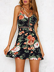 Women's Going out Casual/Daily Club Sexy Vintage Boho Sheath DressFloral Sexy Strap Mini Sleeveless Backless Slim Hollow Out Spring Summer High Rise